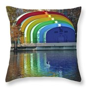 Rainbow Bandshell And Swan Throw Pillow