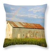 Rainbow Barn Throw Pillow