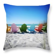 Rainbow Beach Vanilla Pop Throw Pillow