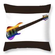 Rainbow Big Neck Bass Guitar Throw Pillow