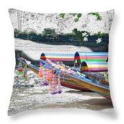 Rainbow Boats Thailand Photo Art Throw Pillow