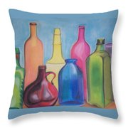 Rainbow Bottles Throw Pillow