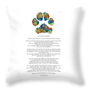 Rainbow Bridge Poem With Colorful Paw Print By Sharon Cummings Throw Pillow