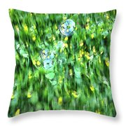 Rainbow Bubbles On The Grass Throw Pillow