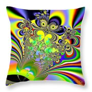 Rainbow Butterfly Bouquet Fractal Abstract Throw Pillow