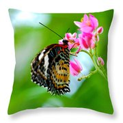 Rainbow Butterfly Throw Pillow