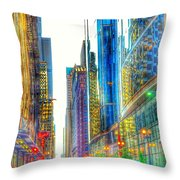 Rainbow Cityscape Throw Pillow