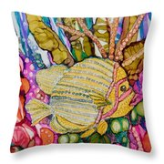 Rainbow-colored Sunfish Throw Pillow