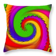 Rainbow Coloured Cock Swirl H B Throw Pillow