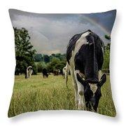 Rainbow Cow Throw Pillow