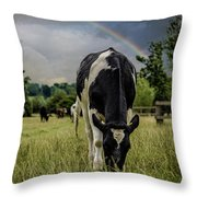 Rainbow Cow Throw Pillow