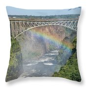 Rainbow Crossing Gorge Beneath Victoria Falls Bridge Throw Pillow