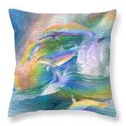 Rainbow Dolphins Throw Pillow