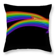 Rainbow Dolphin Throw Pillow