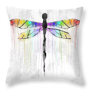 Abstract Dragonfly - White Rainbow Throw Pillow