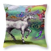 Rainbow Faeries And Unicorn Throw Pillow