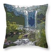 Rainbow Falls Green Throw Pillow