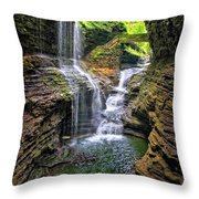 Rainbow Falls In Watkins Glen Throw Pillow