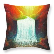 Rainbow Falls Throw Pillow by Jaison Cianelli