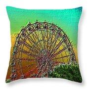 Rainbow Ferris Wheel Throw Pillow