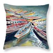 Rainbow Flotilla Throw Pillow