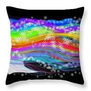 Rainbow Flower Girl Throw Pillow