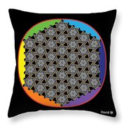 Rainbow Flower Of Life Wob Throw Pillow