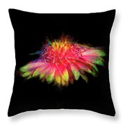 Rainbow Flower On Black Throw Pillow