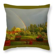 Rainbow From The Back Deck Throw Pillow