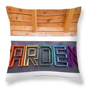 Rainbow Garden Sign Two Throw Pillow