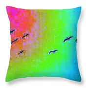 Rainbow Gulls Throw Pillow