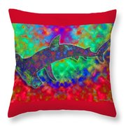 Rainbow Hammerhead Shark Throw Pillow