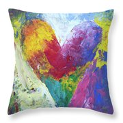 Rainbow Heart In The Cloud Acrylic Paintings Throw Pillow