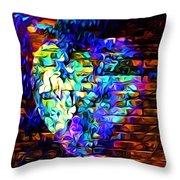 Rainbow Heart On A Wall Throw Pillow