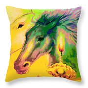 Rainbow Horses And The Pearl Of Light Throw Pillow