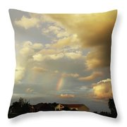 Rainbow House Throw Pillow