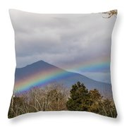 Rainbow In Front Of Sharp Top Throw Pillow
