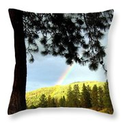 Rainbow In Pine Country Throw Pillow