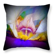 Rainbow In The Iris Throw Pillow