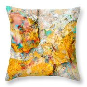 Rainbow Leaves Aqua Throw Pillow