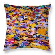 Rainbow Leaves Throw Pillow