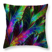 Rainbow Leaves Throw Pillow