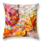 Rainbow Abstract Leaves Throw Pillow