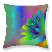 Rainbow Lily Throw Pillow