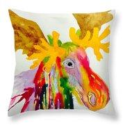 Rainbow Moose Head  - Abstract Throw Pillow