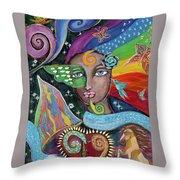 Rainbow Muse Throw Pillow