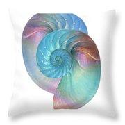 Rainbow Nautilus Pair On White Throw Pillow