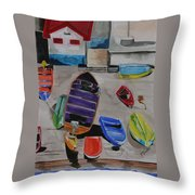 Rainbow On The Dock Throw Pillow