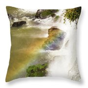 Rainbow On The Falls Throw Pillow