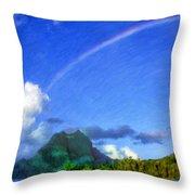 Rainbow Over Bora Bora Throw Pillow
